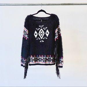 Black Western Sweater with Fringe